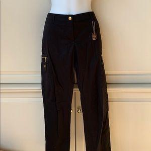 MK Black and Gold Zipper Pants